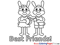 Hares for free Coloring Pages download Friends