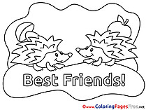 Hedgehogs Friends Kids free Coloring Page