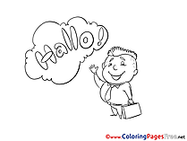 Hello Kid Coloring Sheets download free