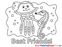 Jellyfish Friends Children Coloring Pages free