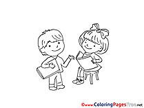 Kids read Books free Colouring Page download