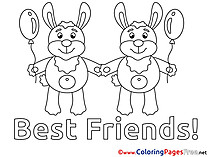 Kindergarten free Colouring Page download Friends