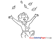 Leaves Kids free Coloring Page
