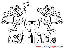 Monkeys best Friends free Colouring Page download