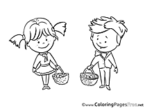Mushroom Pickers Kids free Coloring Page