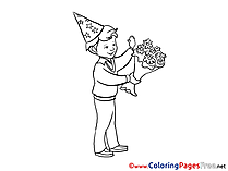 Party free Colouring Page download Boy