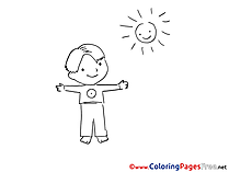 Sun and Boy download Colouring Sheet free