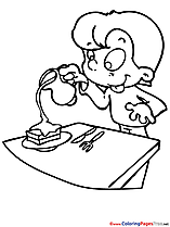 Table download Colouring Sheet free Boy