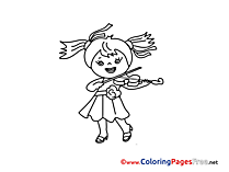 Violin for Children free Coloring Pages Girl