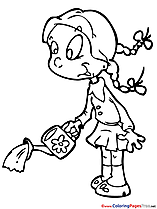 Watering Can Coloring Sheets Girl download free