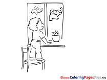 Window Coloring Pages for free Kindergarten