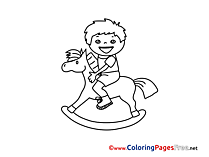 Wooden Horse printable Coloring Sheets Boy download