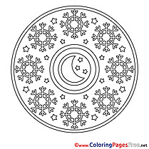 Night Mandala Coloring Pages free