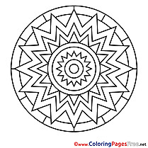 Sun Coloring Sheets Mandala free