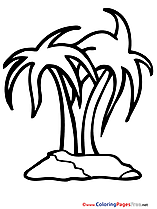 Palms download Colouring Sheet Island free