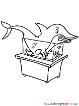 Shark in Aquarium download printable Coloring Pages