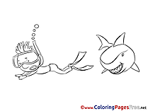 Sharks Colouring Sheet download free