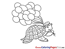 Turtle Kids free Coloring Page