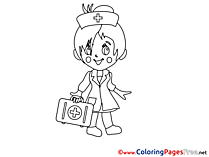 Doctor Girl download Colouring Sheet free