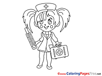 Girl Nurse download printable Coloring Pages
