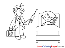 Hospital Ward for Kids printable Colouring Page