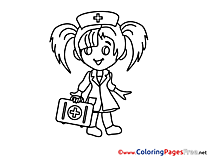 Kid Doctor Colouring Sheet download free