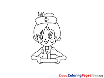 Nurse for Kids printable Colouring Page