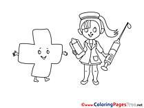 Syringe Nurse free Colouring Page download