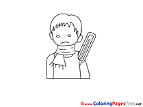 Thermometer Boy printable Coloring Pages for free