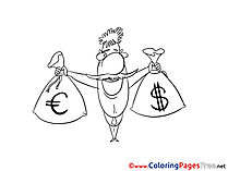 Bags Money Colouring Sheet download free
