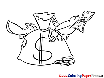 Bird Dog Bag Money download Colouring Sheet free