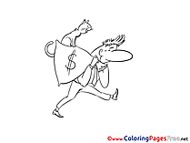 Cat Man Money Children Coloring Pages free