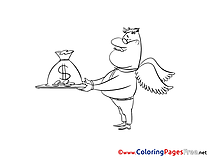 Delivery Money Colouring Page printable free