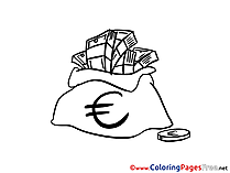 Euro Bag Money free Colouring Page download