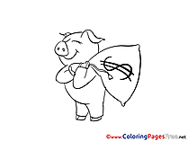 Piggy Bag Money printable Coloring Pages for free