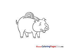 Piggy Bank Money printable Coloring Pages for free