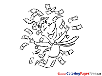 Winner Money free Colouring Page download