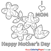 Applique Flower Coloring Sheets Mother's Day free