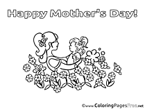 Baby Coloring Pages Mother's Day for free