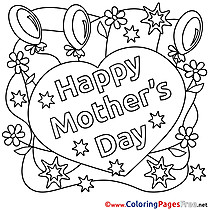 Balloons Mother's Day Flowers Coloring Pages download