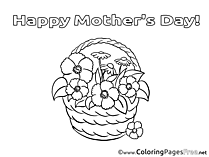Basket Flowers Kids Mother's Day Coloring Pages