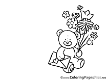 Bear Mother's Day Flowers Coloring Pages free