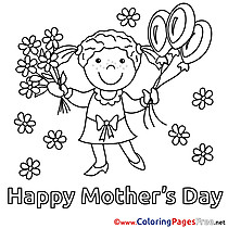 Bouquet Daughter Flowers Balloons Coloring Pages Mother's Day for free