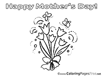 Bouquet Flowers printable Mother's Day Coloring Sheets