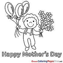 Boy Balloons Flowers printable Mother's Day Coloring Sheets