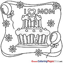 Cake free Colouring Page Mother's Day