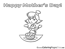 Cake Girl Kids Mother's Day Coloring Page