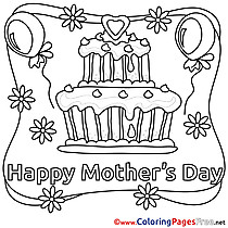Cake Mother's Day Colouring Sheet free