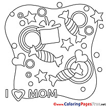 Candies Mother's Day Colouring Sheet free