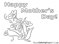 Chamomiles Flowers Mother's Day free Coloring Pages